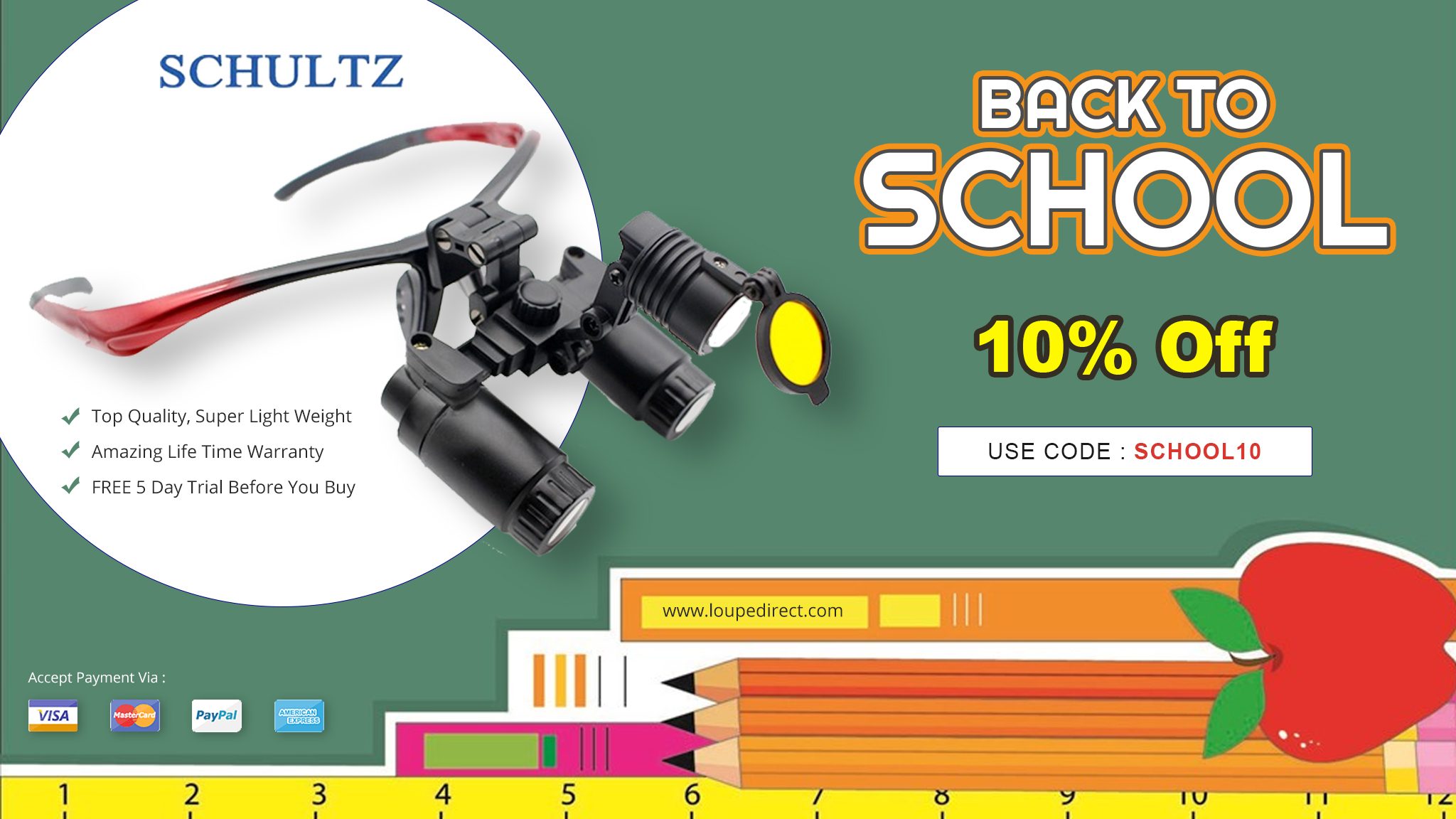 Back to School Sale at Schultz Optical: Use Promo Code SCHOOL10 to Get a 10% Discount