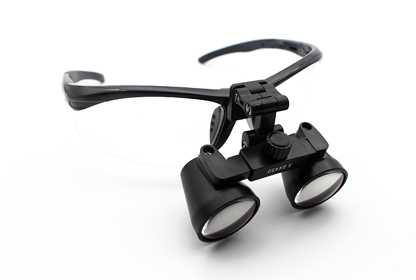Black Sports Flip Up Dental Loupes Side Right